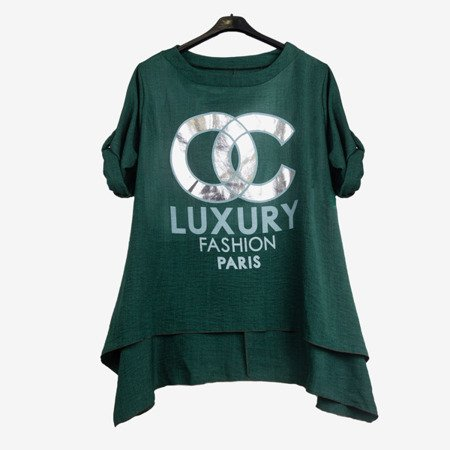 Dark green women's tunic with inscriptions - Blouses 1