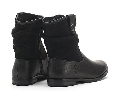 Eco suede and leather workwear in black Enid - Footwear