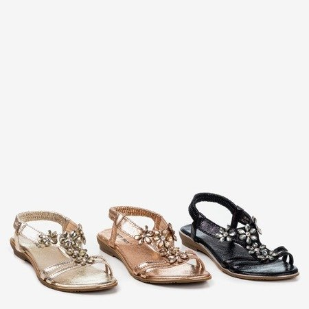 Gold women's sandals with Crisel crystals - Footwear