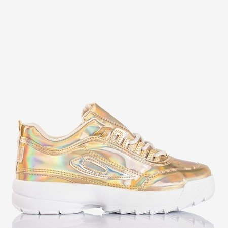 Gold women's sneakers with holographic finish That's It - Footwear 1