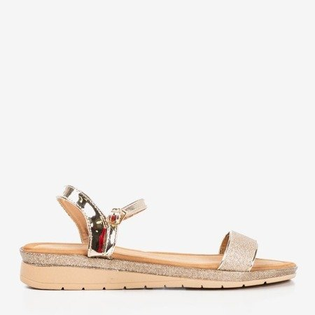 Golden women's sandals on a low wedge Lisia - Shoes