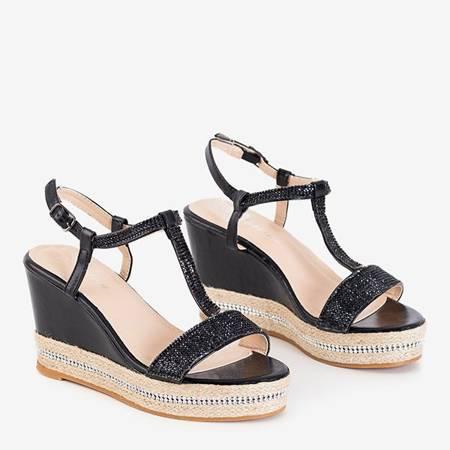 Grainne black women's wedge sandals with cubic zirconia - shoes