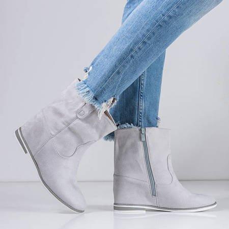 Gray boots a'la cowboy boots on an indoor wedge Teilor - Footwear