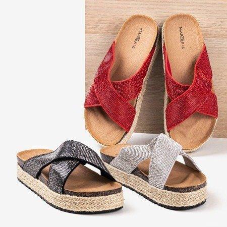 Gray flip-flops on the platform with zircons Zarina - Footwear 1