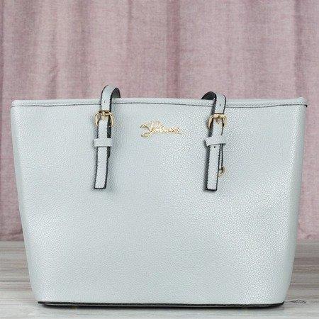 Gray large women's bag with the inscription - Handbags