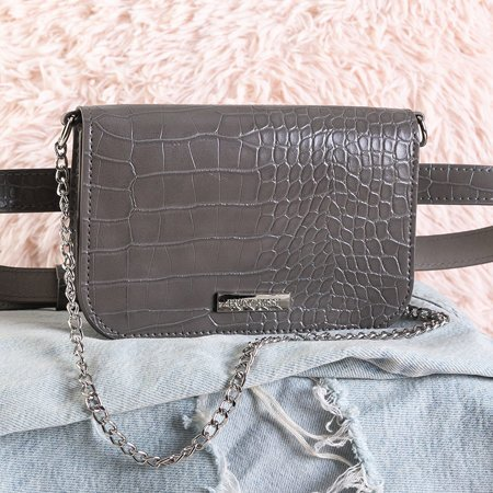 Gray small waist bag a'la snake skin - Handbags