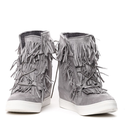 Gray sneakers with fringes on the Kennedy indoor wedge - Footwear