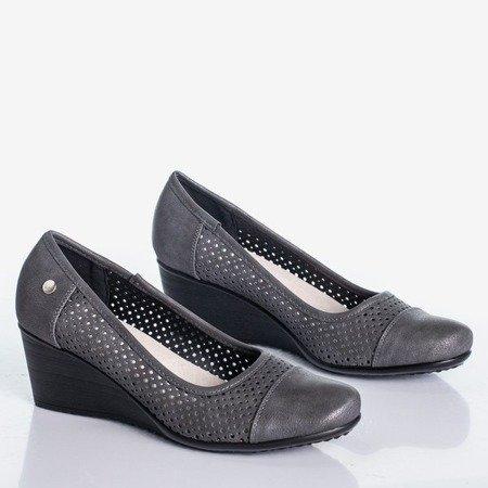 Gray wedge heels with an openwork Poliassa finish - Footwear