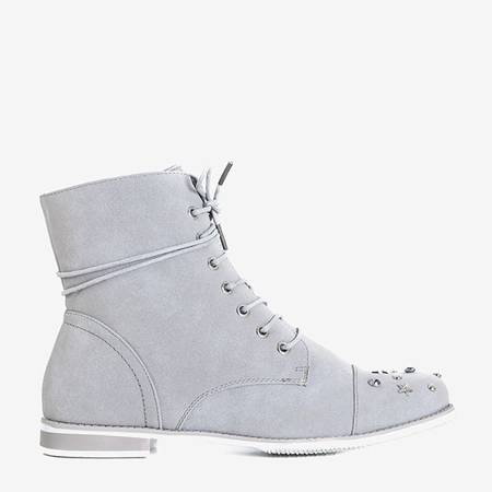Gray women's boots with decorations Matylda - Footwear