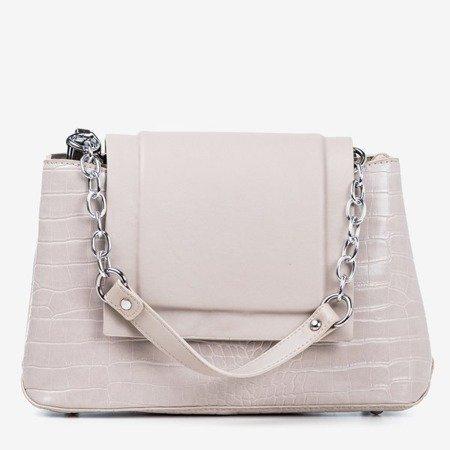 Gray women's handbag with animal embossing - Handbags