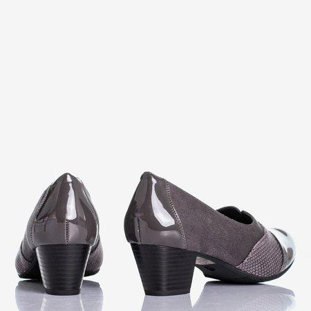 Gray women's pumps on a low post Saloma - Footwear