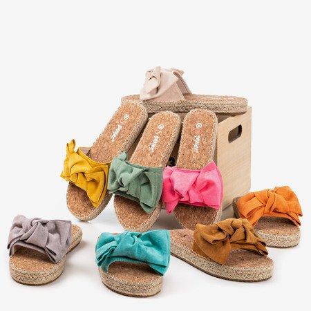 Green flip-flops with a bow Playa - Footwear 1