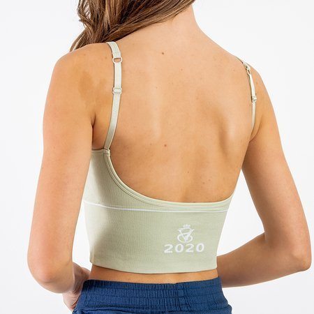 Green sports bra with inscriptions - Underwear