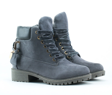 Grey, insulated boots with thick sole and embossed eco-Ira-suede - Shoes