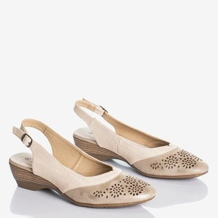 Ladies' beige and gold sandals with openwork Asina decoration - Footwear