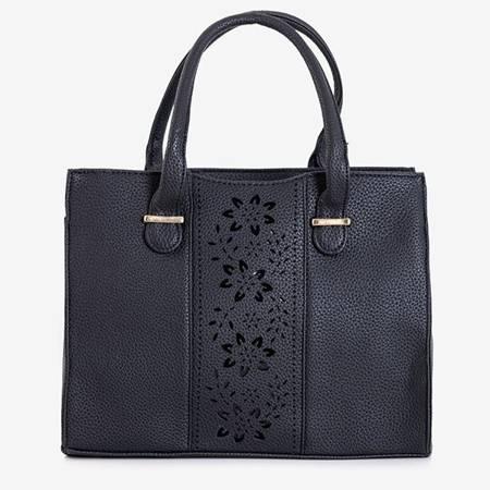 Ladies' black bag with a floral openwork decoration - Handbags