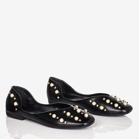 Ladies 'black ballerinas with Bustsa pearls - Footwear