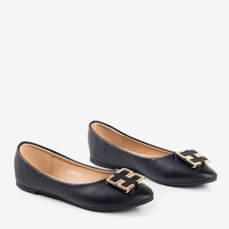 Ladies 'black ballerinas with an ornament on the toe Rionach - Footwear