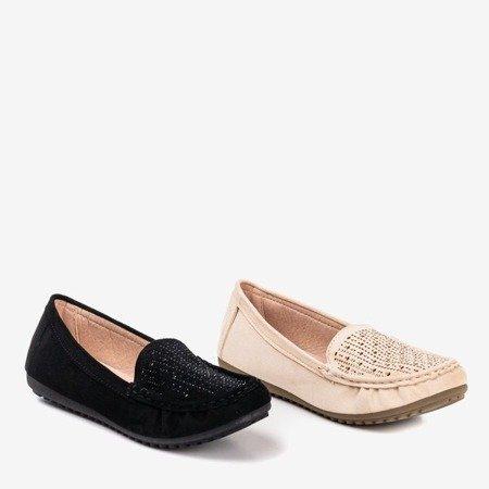 Ladies 'black moccasins with cubic zirconias Cyliua - Footwear