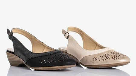 Ladies' black sandals with openwork Asina - Footwear