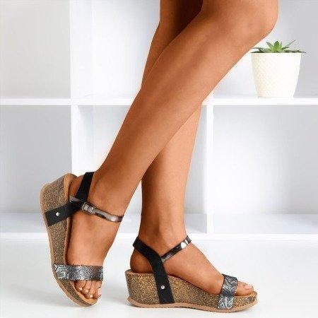 Ladies' black wedge sandals with an animal motif Akena - Footwear