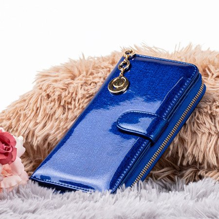 Large blue lacquered women's wallet - Wallet