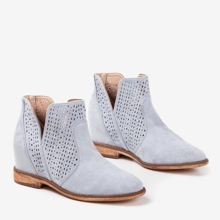 Light blue boots on a covered wedge-heel Besis cowboy boots - Footwear 1