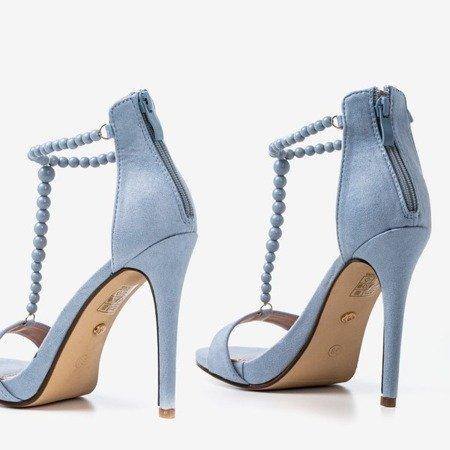 Light blue sandals on a higher Nastula heel - Footwear 1