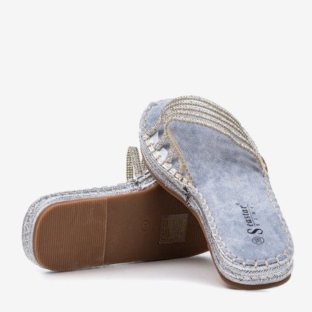 Light blue transparent slippers with cubic zirconia Noumeia - Footwear