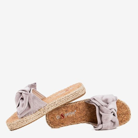 Light gray slippers with a Playa bow - Footwear
