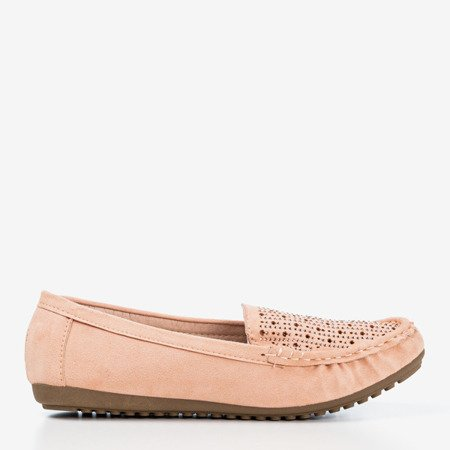 Light pink loafers for women with cubic zirconia Cyliua - Footwear 1