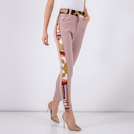 Light pink patterned women's trousers - Clothing