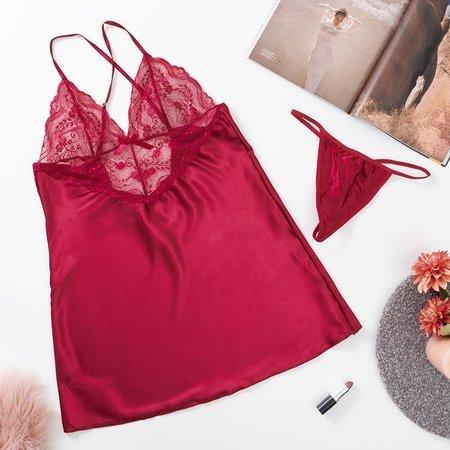 Maroon lace women's nightdress with thongs - Belizna