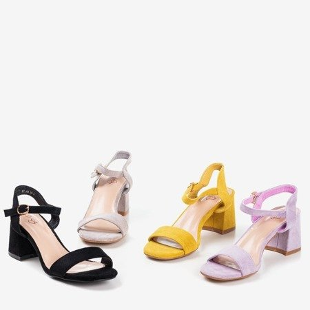 Mustard women's sandals with a shiny Mira finish - Footwear 1