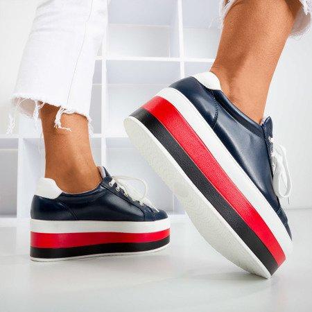 Navy blue sneakers on the Dishye platform - Footwear 1
