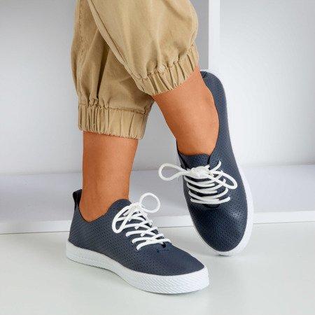 Navy blue women's openwork sneakers Ahama - Footwear 1