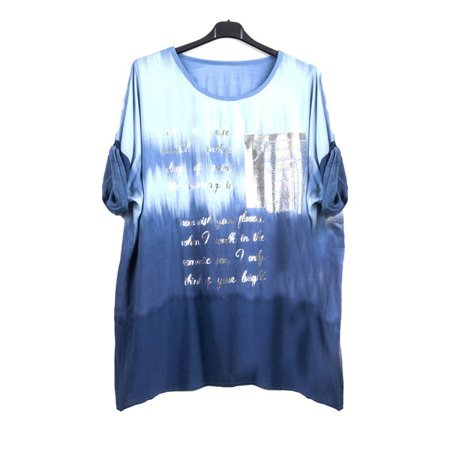 Navy women's tunic with silver lettering - Blouse 1