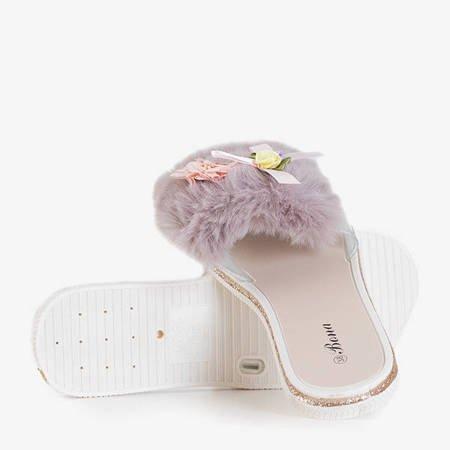 Neil's gray women's slippers with fur - Footwear