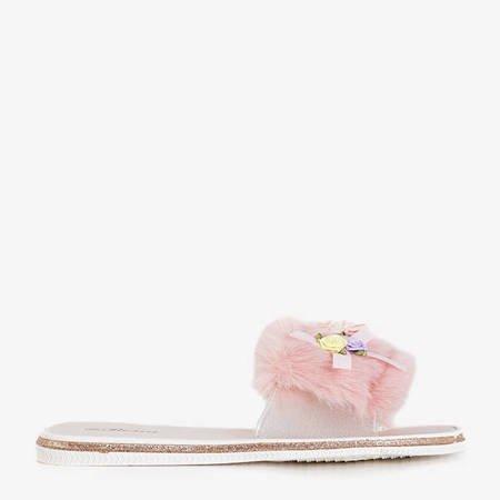 Neil's pink women's fur slippers - Footwear