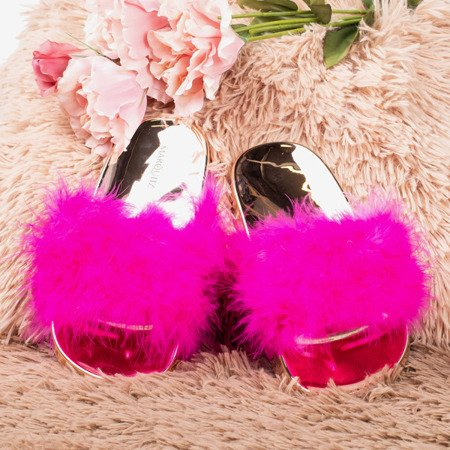 Neon pink flip-flops with fur Lovia - Footwear 1