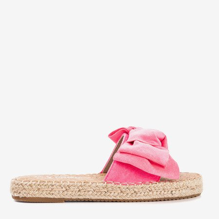 Neon pink slippers with a Playa bow - Footwear