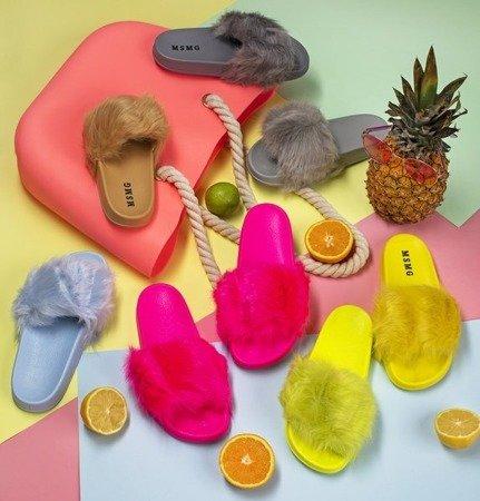 Neon pink slippers with fur Millie - Footwear