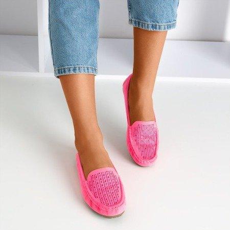 Neon pink women's loafers with zircons Cyliua - Footwear 1