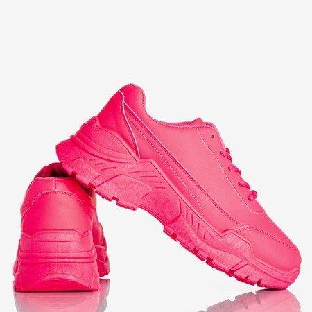 Neon pink women's sneakers on a massive Lera sole - Footwear 1