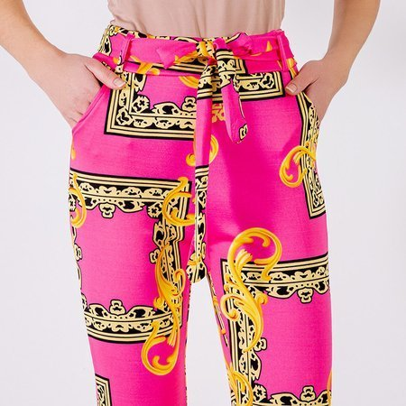 Neon pink women's trousers with print - Clothing