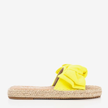 Neon yellow flip-flops with a bow Playa - Footwear 1