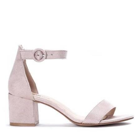 OUTLET Beige sandals on a Madeleine post - Footwear