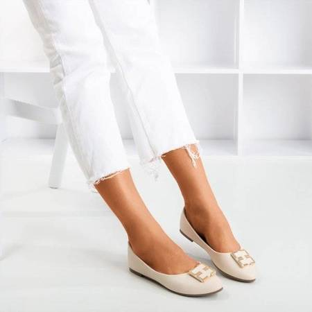 OUTLET Beige women's ballerinas with an ornament on the toe Rionach - Shoes