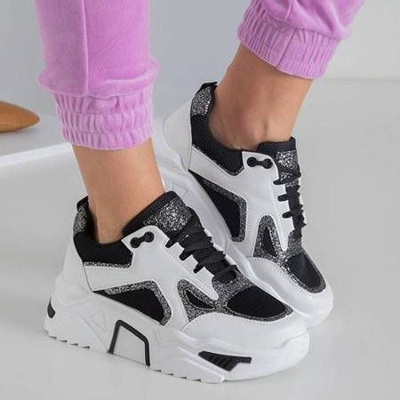 OUTLET Black and white women's sneakers with glitter Happier - Footwear