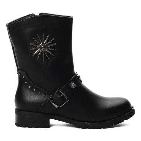 OUTLET Black boots decorated with metal ornaments - Shoes